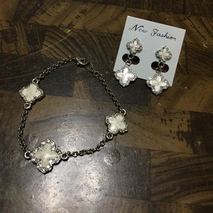 Silver & white bracelet with matching earrings